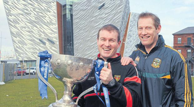 Down manager James McCartan, left, and Meath selector and player Graham Geraghty pictured at the Titanic Building at the Belfast launch of the 2012 Allianz Football Leagues