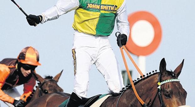 Jason Maguire celebrates as Ballabriggs beats Oscar Time in last year's National