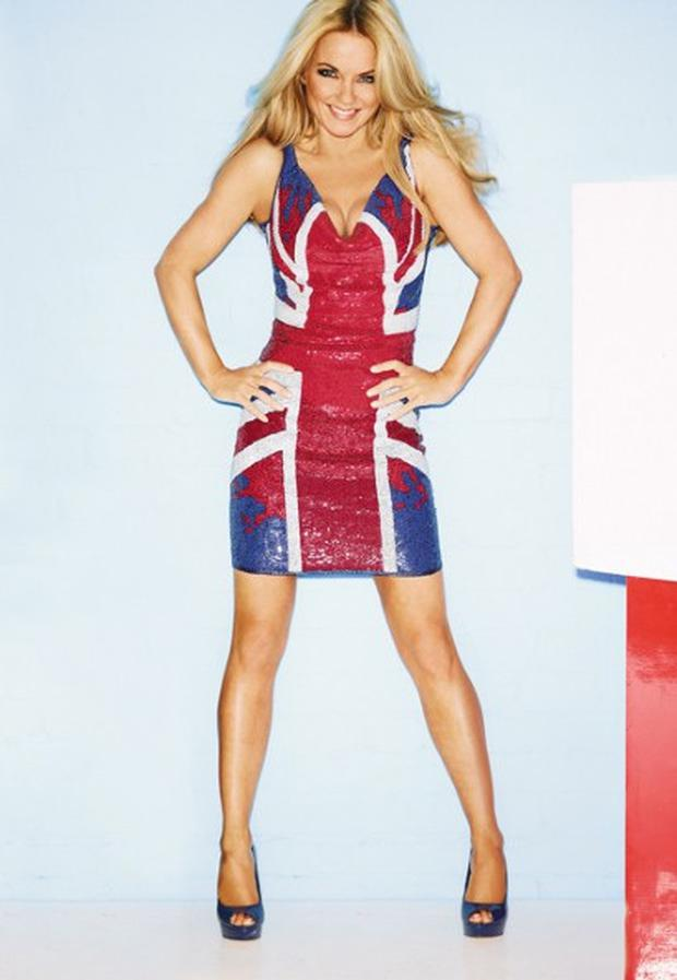 Geri Halliwell in the £199 Union Jack dress she has designed for Next Photo: NEXT