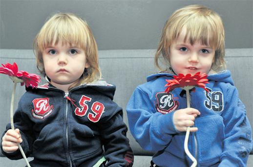 Three-year-old Calum Geary (right) with his twin brother Donnacha in Cork yesterday