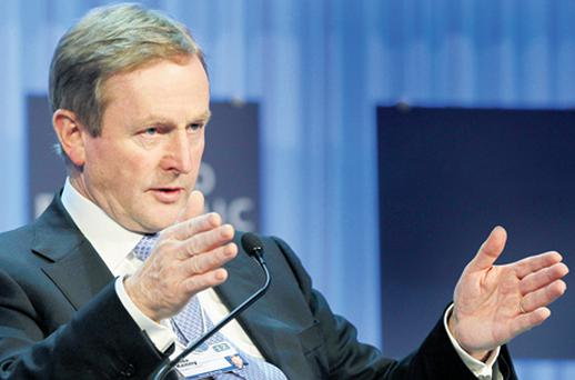 Taoiseach Enda Kenny being interviewed about the cause of Ireland's economic implosion in Davos, Switzerland