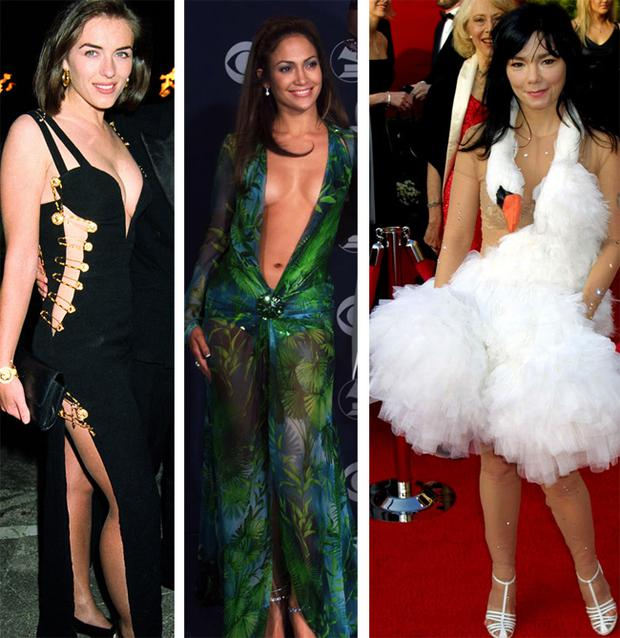 From left: Liz Hurley, Jennifer Lopez and Bjork in iconic dresses