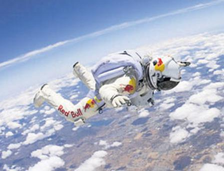 LEAP OF FAITH: Felix Baumgartner on a training jump
