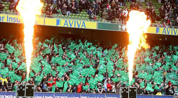 Ireland fans in the stands applaud their team onto the pitch during the RBS 6 Nations match at the Aviva Stadium, Dublin.