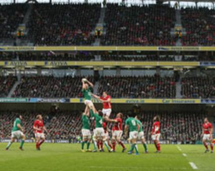 General view as Ireland win a line-out ball