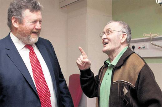Health Minister James Reilly chatting with John Manning at the official opening of Ballincollig Community Nursing Unit, Cork