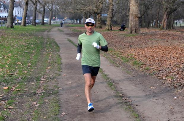 Richard Donovan running a marathon course around Clapham Common, London, on Saturday February 4, 2012, as part of his attempt to run 7 marathons on all 7 continents of the World