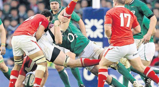 Stephen Ferris upends Ian Evans to concede a last minute penalty