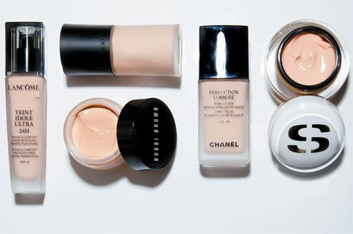 From left: Lancome Teint Idole Ultra 24H; Giorgio Armani Designer Lift (top); Bobbi Brown Extra Repair Foundation; Chanel Perfection Lumiere; Sisley Skinleya Anti-Aging Foundation