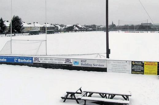 A snow-covered Ruislip on Sunday where London were supposed to host Fermanagh