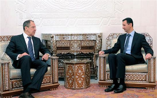 Russian Foreign Minister Sergei Lavrov and Syria's President Bashar al-Assad meet in Damascus. Photo: Reuters