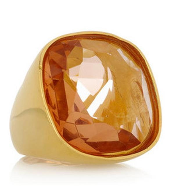 Kenneth Jay Lane Oversized 22-karat gold-plated amber ring €95.19