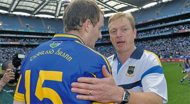 Tipperary manager Declan Ryan and Lar Corbett after the All-Ireland SHC semi-final victory over Dublin at Croke Park last August