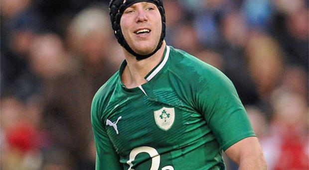 Stephen Ferris, Ireland, reacts after giving away a late penalty against Wales on Sunday. Photo: Sportsfile