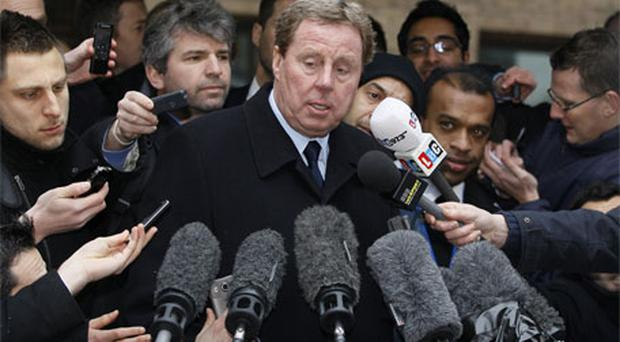 Tottenham manager Harry Redknapp delivers a statement to media outside Southwark Crown Court. Photo: AP