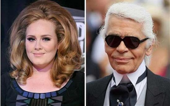 Song and dance: Adele and her accuser, Karl Lagerfeld. Photo: PA