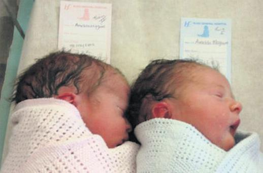 Neven Maguire's new babies, Lucia (left) and Connor, who were born in Sligo General Hospital