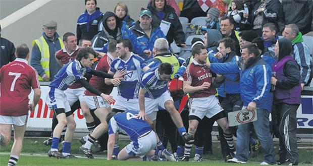 Tempers flare during the now infamous melee between the Derrytresk and Dromid Pearses teams in last month's All-Ireland JFC Club semi-final at O'Moore Park
