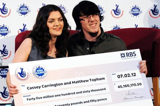 Cassey Carrington and Matt Topham matched five numbers and two Lucky Stars in the draw. Photo: PA