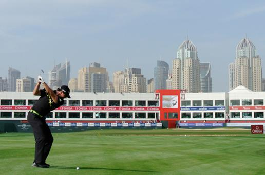 Rory McIlroy on the par five 18th hole during the second round of the Omega Dubai Desert Classic. Photo: Getty Images