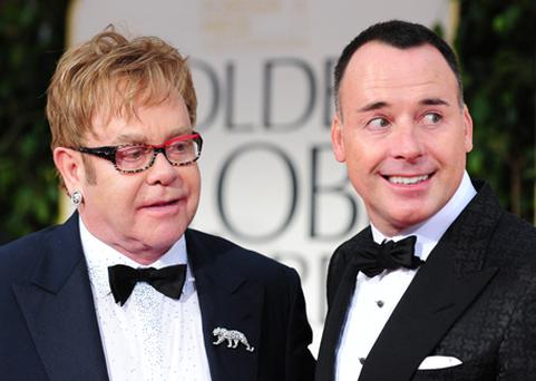 Elton John and David Furnish at the Golden Globe Awards last month. Photo: Getty Images