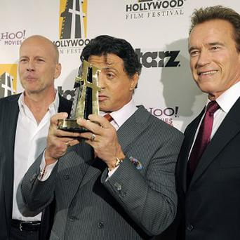 Sylvester Stallone with Schwarzenegger at the Hollywood Film Festival