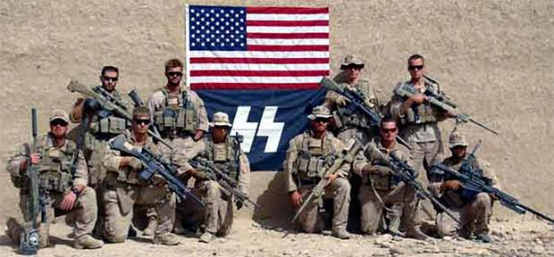 The logo resembling that of the notorious Nazi SS appeared in a photograph of US Marines taken in the Sangin district of Afghanistan in 2010