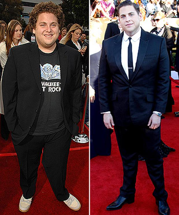 <p> <b>Jonah Hill</b> </p> <p> It was said that working with Brad Pitt on Moneyball made chubby Jonah want to change his ways. </p> <p> But the once portly actor has revealed seeing a nutritionist is the real reason he managed to shed the pounds. And it was choosing Japanese food over American style meals, that kick started his weight loss: 'I found that Japanese food was very helpful to me.' </p>