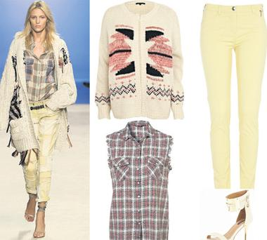 Cardigan, €51; jeans, €36; and shoes, €67. All at River Island; Shirt, €40, at topshop.com