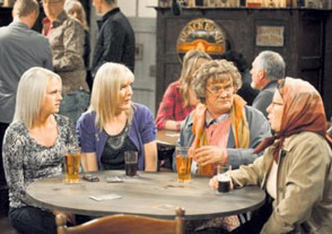 'Mrs Brown's Boys' starring Dublin comedian Brendan O'Carroll, second from right, has become the third-biggest selling comedy DVD of all-time in Ireland and the UK after 'The Office', and 'Little Britain'.