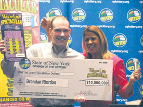 Brendan Riordan celebrates his good fortune in the New York lottery, in which the winnings could yet be as high as €19m over his lifetime.