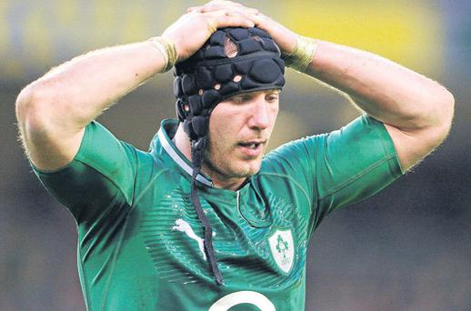 A dejected Stephen Ferris during last Sunday's defeat by Wales at Lansdowne Road
