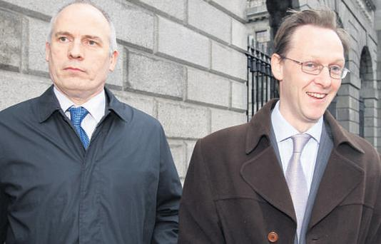 Tony Delaney and Gary Davies, of the Office of the Data Protection Commissioner, outside court yesterday