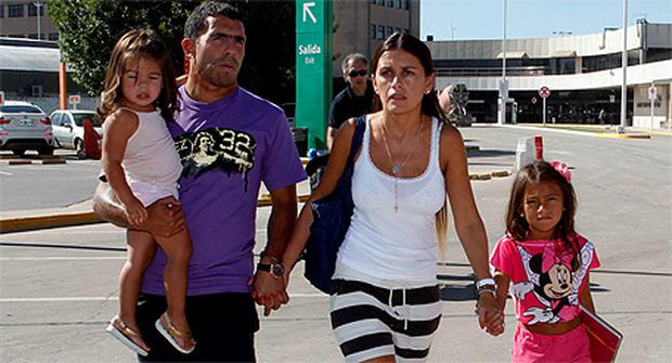 Tevez and his family are travelling back to Manchester where he is hoping to re-join his team-mates