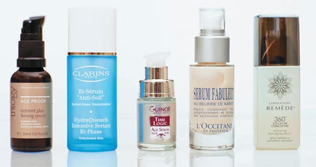 Pictured, from left: Trilogy Nutrient Plus Firming Serum; Clarins HydraQuench Intensive Serum Bi-Phase; Guinot Time Logic Age Serum Eyes; L'Occitane Fabulous Serum; Laboratoire Remede 360 Cellular Concentre Email thepanel@independent.ie