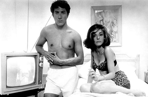 <p> <b>The Graduate - 1967</b> </p> <p> 'Elaine! Elaine! Elaine!' It's the interrupted wedding scene to end them all. Dustin Hoffman's screams to bride Katharine Ross are racked with a desperation that borders on mania. And it's not just romantic - it's deep. The lost dream of the late 1960s, the battle of cynical middle-age against youthful idealism, the timeless appeal of a bright red Alfa Spider - all are bound up in this peerless finale to a lyrical and life-affirming film. 'It's too late,' smiles her mother, Mrs Robinson. 'Not for me,' says Elaine. Exit the lovers on an unforgettable bus-ride to ambiguity. </p> <p> <i>Simon and Garfunkel singing 'Are you going to Scarborough Fair?' </i></p>