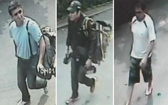 The three men suspected of being involved in three blasts in Bangkok. Photo: Reuters
