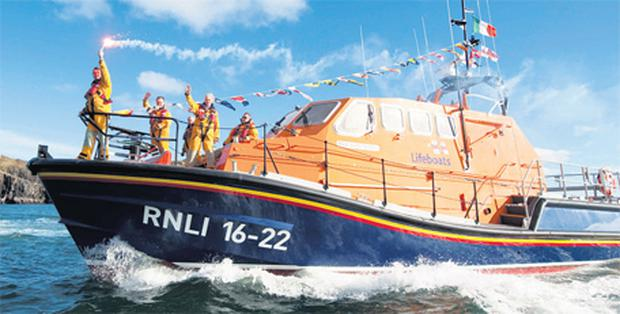 The €3m lifeboat 'Alan Massey' arrives in Baltimore, Co Cork yesterday