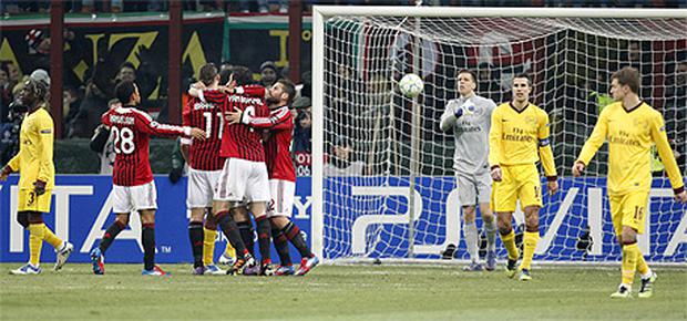 Arsenal received a 4 - 0 thrashing in the San Siro