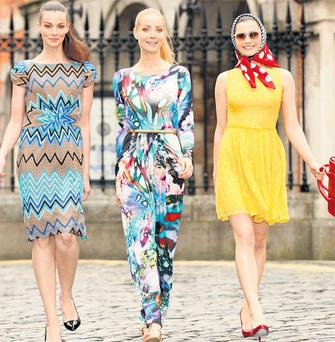 Karen wears a zig-zag dress (€60), Lizanna a Per Una Speziale dress (€109) and Carmel a Limited Collection lace dress (€54) at the launch of Marks & Spencer's spring/summer 2012 collection in Dublin's City Hall. KIERAN HARNETT