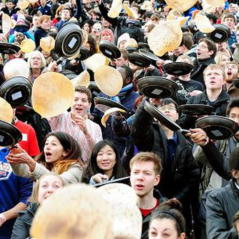 Staff and students at the University of Sheffield take part in The Big Flip and break the Guinness World Record