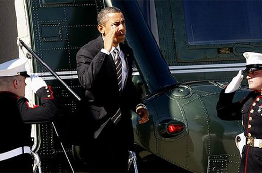 President Barack Obama exits the Marine One helicopter at Los Angeles International Airport on Thursday. Photo: AP