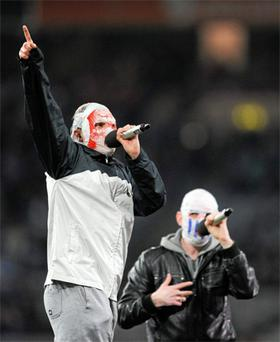 The Rubberbandits preform at Croke Park during the opening night of the 2012 Allianz League Spring Series. Photo: Sportsfile