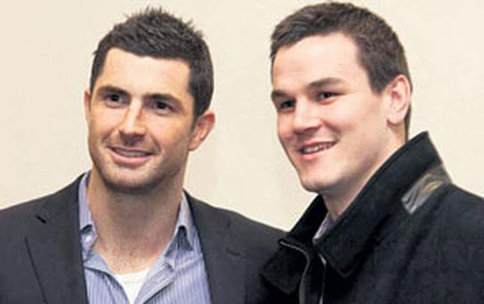 Leinster teammates Rob Kearney and Johnny Sexton, who answered questions at the charity event