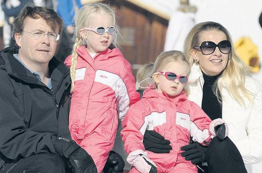 In a photograph taken during a skiing holiday last year in Lech, Austria, the Netherlands' Prince Friso van Oranje is pictured with his wife Princess Mabel and daughters Luana and Zaria.