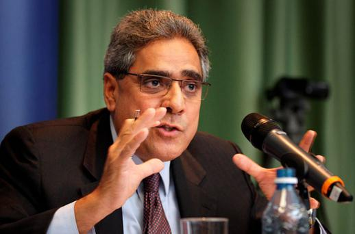 Ajai Chopra from the IMF during a press conference at European House in Dublin, after January's quarterly review by the European Commission, ECB and IMF.