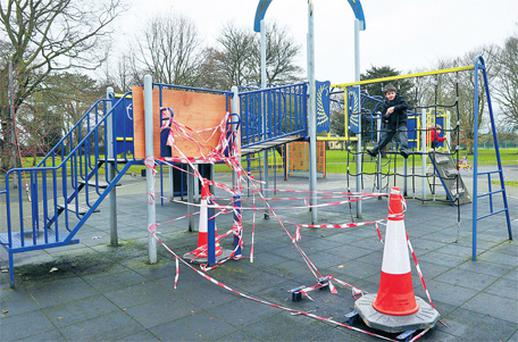 The playground in St Helena's park in Dundalk, where criminals branded as the meanest thieves in Ireland stole two children's slides