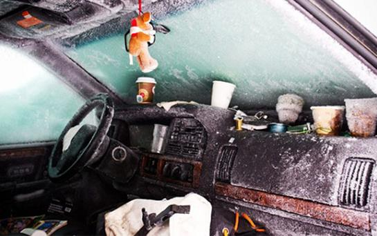The interior of of the snowed in car. Photo: PA