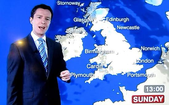 BBC weather forecaster Alex Deakin slips up as he predicts a chilly but bright Sunday morning. Photo: BBC