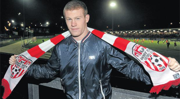 Former Derry City player James McClean celebrated his call-up to Giovanni Trapatton's Ireland squad for the friendly international against the Czech Republic on February 29 by taking in the Setanta Sports Cup game between Derry and Lisburn Distillery at the Brandywell last night. Derry won 3-0